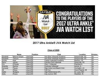 2017 Ultra Ankle® JVA Watch List