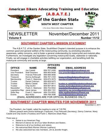 NEWSLETTER November/December 2011 - ABATE of Garden State