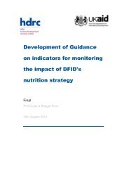 Development of Guidance on indicators for monitoring the impact of ...