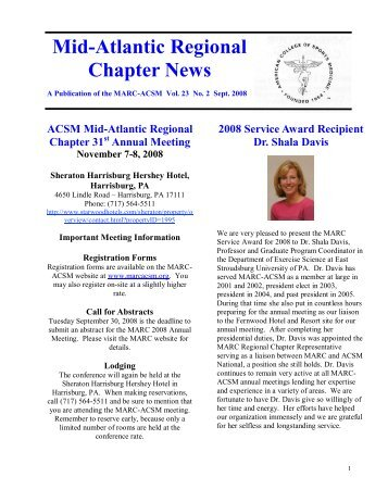 Mid-Atlantic Regional Chapter News - American College of Sports ...
