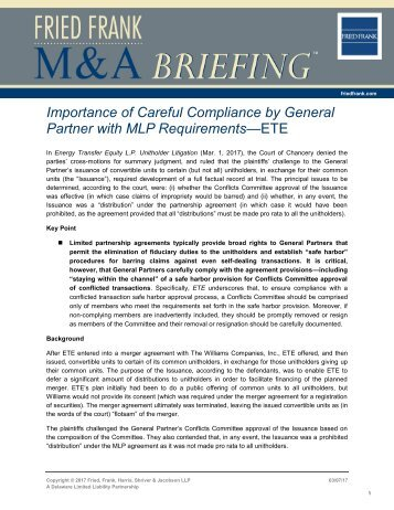 Importance of Careful Compliance by General Partner with MLP Requirements—ETE