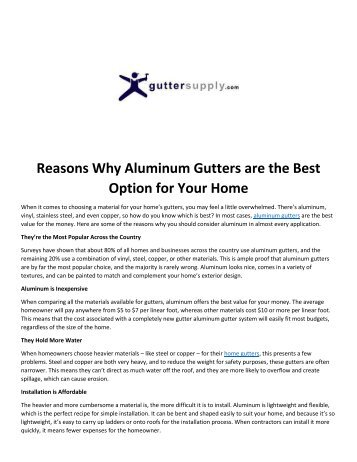Reasons Why Aluminum Gutters are the Best Option for Your Home