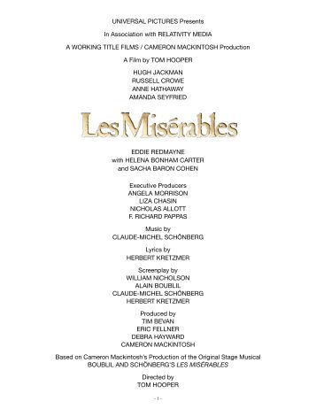 Production Notes - Les Misérables