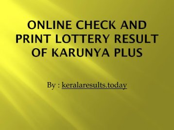 Online Check and Print Lottery Result of karunya plus