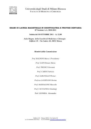 COMMISSIONE 18-10-2011 - Medicina e Chirurgia - Università ...