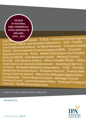 REVIEW OF NATIONAL NON-COMMERCIAL STATE AGENCIES IN IRELAND 2010 - 2015