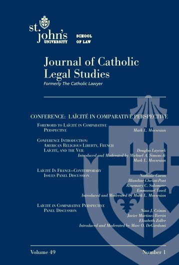 Journal of Catholic Legal Studies - CENTER FOR LAW AND ...