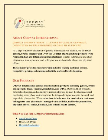Oddway International : Wholesale Supplier of Generic Medicines