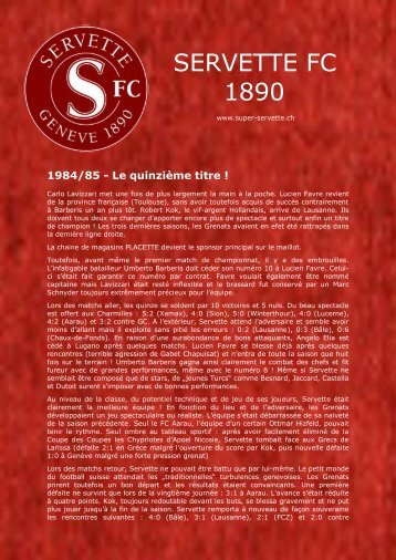 1984/85 - Le quinzième titre! - Vive le Servette FC