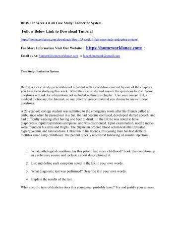 BIOS 105 Week 4 iLab Case Study  Endocrine System