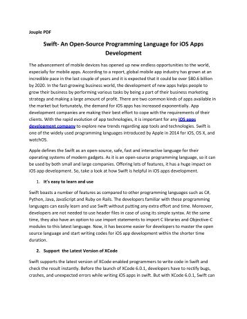 Swift- An Open-Source Programming Language for iOS Apps Development