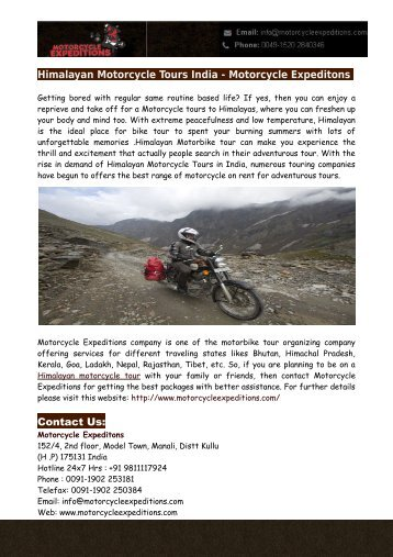 Himalayan Motorcycle Tours India - Motorcycle Expeditons