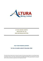 HALF YEAR FINANCIAL REPORT For the six months ended 31 December 2016