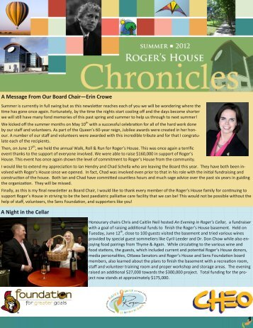 Summer 2012 Newsletter - Roger's House