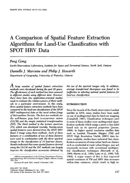 A Comparison of Spatial Feature Extraction Algorithms for