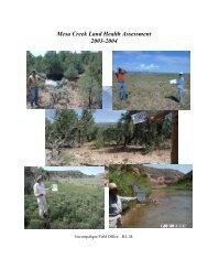 Mesa Creek Land Health Assessment - Bureau of Land Management