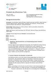 Protokoll der Sitzung des Managementkreises ... - BenE – München