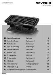 Severin PG 8526 Gril Barbecue - Istruzioni d'uso