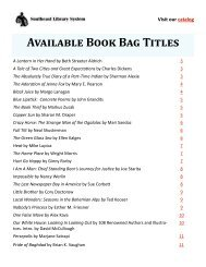 Available Book Bag Titles - Southeast Library System