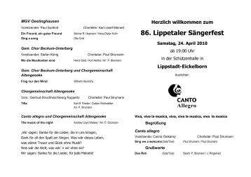 Herzlich willkommen zum 86. Lippetaler Sängerfest - New Generation