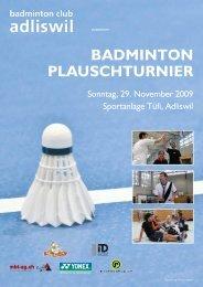 BADMINTON PLAUSCHTURNIER - Adliswiler Badminton Club
