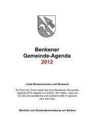 Benkener Gemeinde-Agenda 2012 - Gemeinde Benken ZH