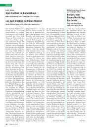 Spin Doctors im Bundeshaus Les Spin Doctors du Palais fédéral ...