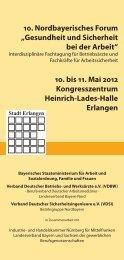 """10. Nordbayerisches Forum """"Gesundheit und Sicherheit bei der - VDSI"""