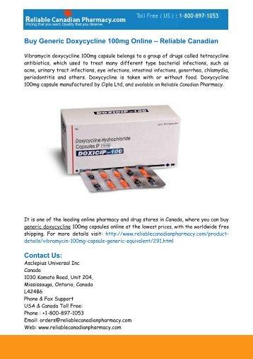 Buy Generic Doxycycline 100mg Online