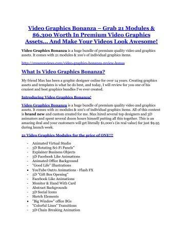 Video Graphics Bonanza Review-$32,400 bonus & discount