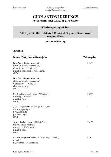 """GION ANTONI DERUNGS Verzeichnis aller """"Lieder und Sätze"""""""