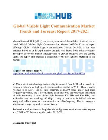 Global Visible Light Communication Market Trends and Forecast Report 2017-2021