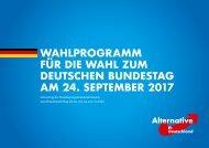 WAHLPROGRAMM FÜR DIE WAHL ZUM DEUTSCHEN BUNDESTAG AM 24 SEPTEMBER 2017