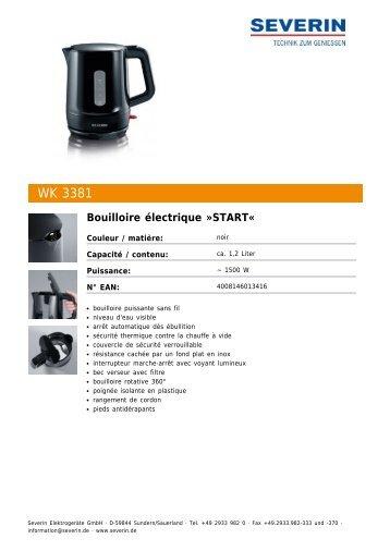 Severin WK 3381 Bouilloire électrique »START« - Fiche technique