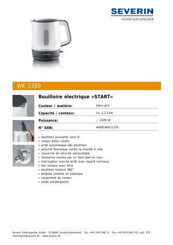 Severin WK 3389 Bouilloire électrique »START« - Fiche technique
