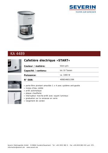 Severin KA 4489 Cafetière électrique »START« - Fiche technique