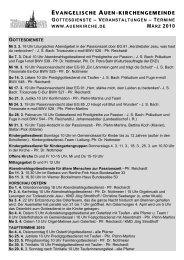 evangelische auen-kirchengemeinde gottesdienste – veranstaltungen