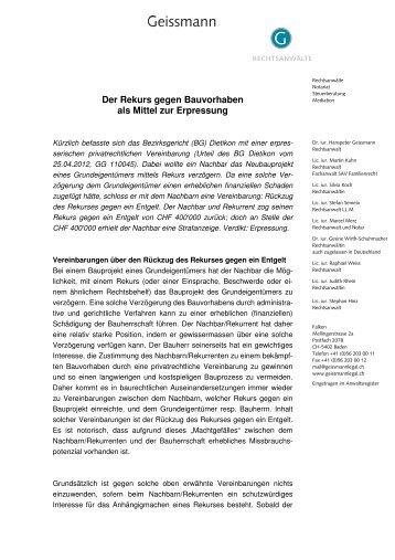 Der Rekurs gegen Bauvorhaben als Mittel zur ... - Geissmann