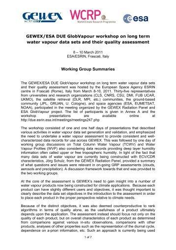Annex I: Workshop Participants - Data User Element - ESA