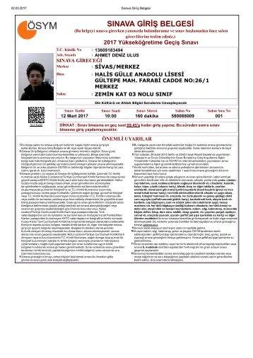 ygs sınav giriş belgesi