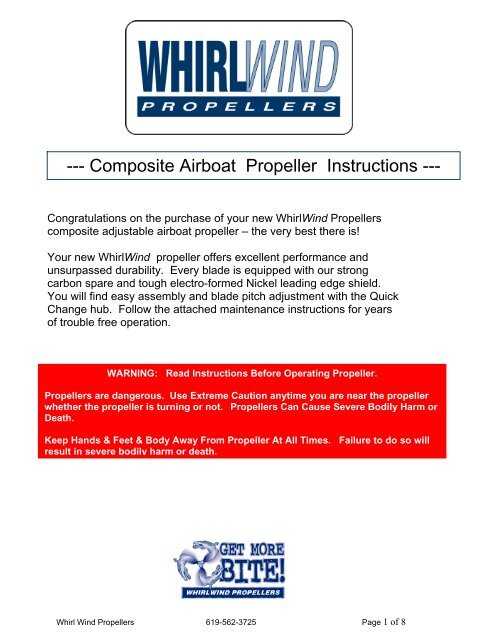 Composite Airboat Propeller Instructions - WhirlWind Propellers