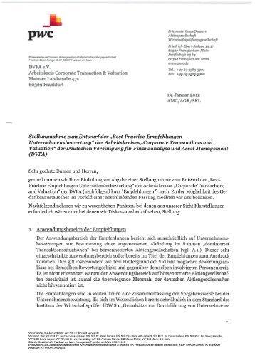 Stellungnahme zum Entwurf von PricewaterhouseCoopers ... - DVFA