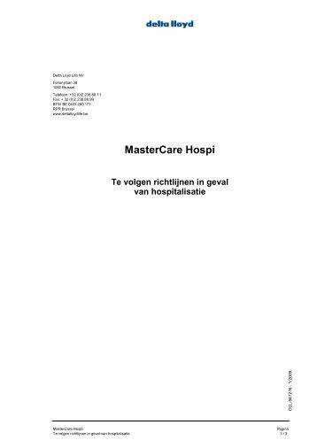 MasterCare Hospi Te volgen richtlijnen in geval ... - Delta Lloyd Life