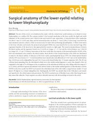 Surgical anatomy of the lower eyelid relating to lower blepharoplasty