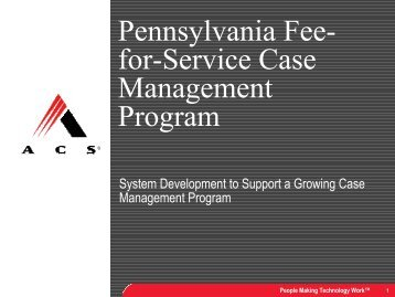 Pennsylvania Fee- for-Service Case Management Program
