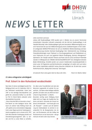 Neuer Professor: BWL - Finanzdienstleistungen - DHBW Lörrach