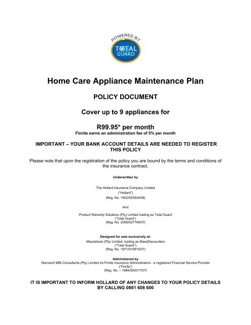 Total Guard Home Care Appliance Maintenance Plan Policy