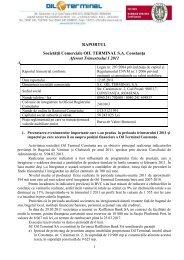 RAPORTUL Societăţii Comerciale OIL TERMINAL S.A. Constanţa ...