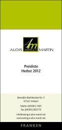 Weinangebot - im Weingut Alois Martin in Volkach