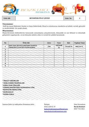 Betoniyer Fiyat Listesi .